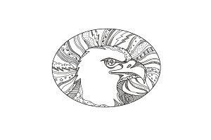 Bald Eagle Head Doodle Art