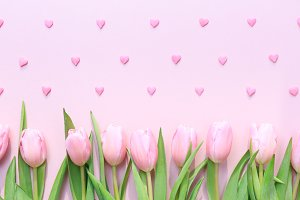 Pink tulips and sprinkles