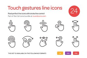 Touch Gestures Line Icons Set