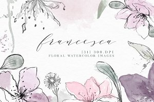 Watercolor Floral Clip Art Elements