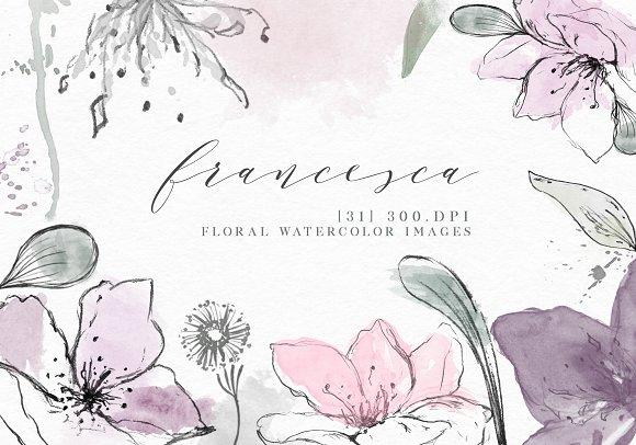 Watercolor Floral Clip Art Elements