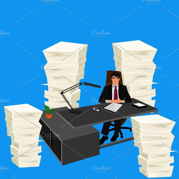 Work Environment Pile Of Papers