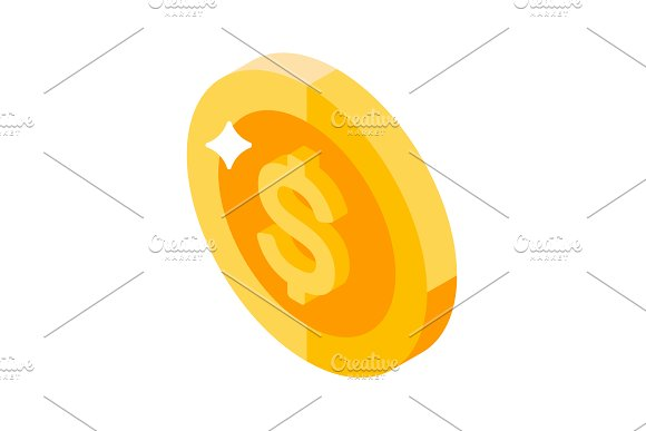 Isometric Icons Money And Coins