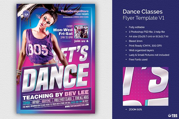 Dance Classes Flyer Template V1 Flyer Templates Creative Market