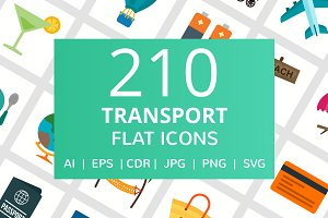 210 Transport Flat Icons