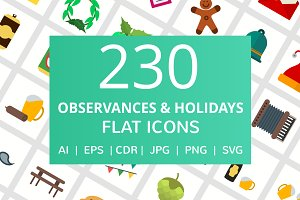 230 Observances & Holiday Flat Icons