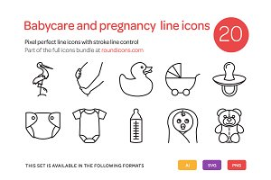 Babycare and Pregnancy Line Icons
