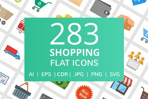 284 Shopping Flat Icons