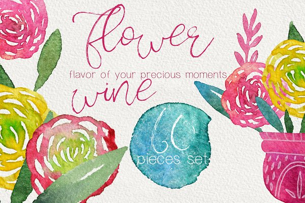Flower Wine watercolor design set