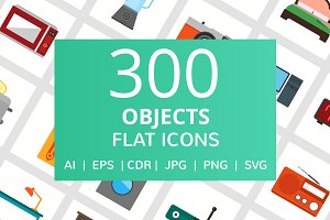 300 Objects Flat Icons