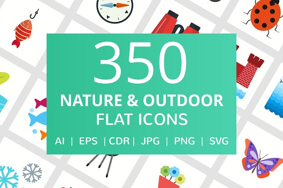350 Nature Outdoor Flat Icons
