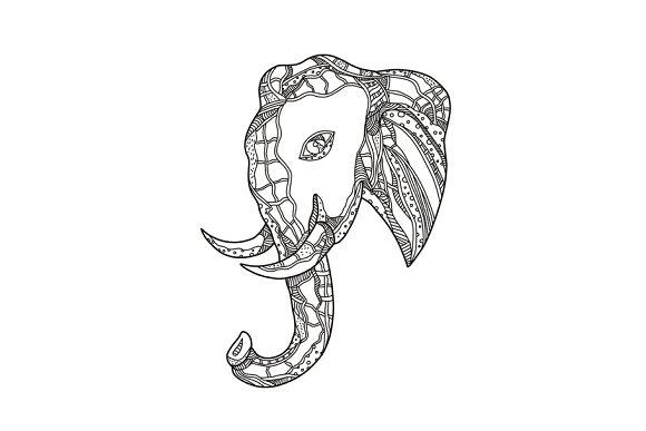 Bull Elephant Head Doodle Art
