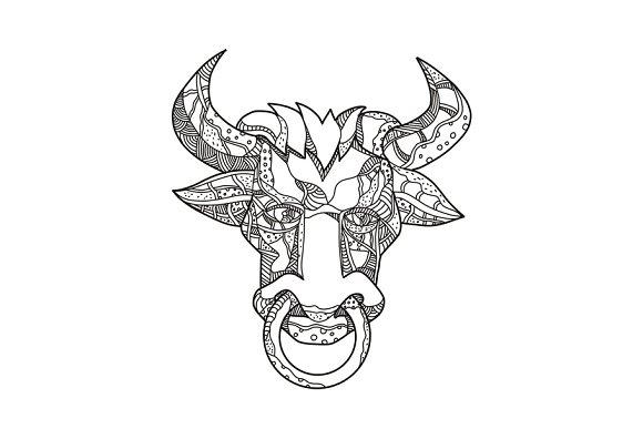 Pinzgauer Bull Head Front Doodle Art