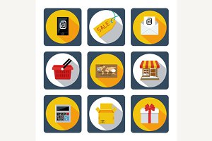 Icon set for mobile shopping, market