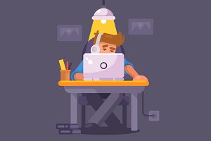 Flat Illustration - Night Work