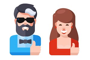 Flat Illustration - Man And Woman
