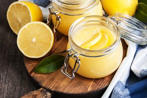 Lemon curd in glass jar