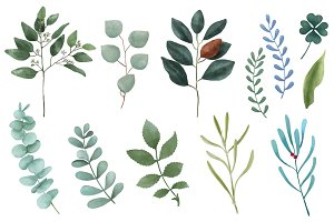 Illustration of hand painted leaves