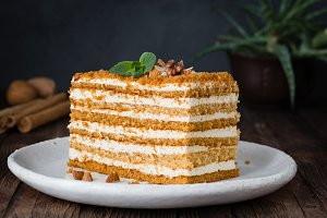 Slice of layered honey cake