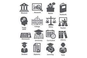 Vector set icons for education