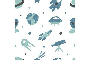 Space childish pattern