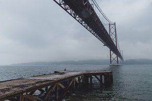 25 de Abril Bridge on a Rainy Day
