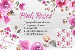 Watercolor pink roses