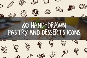 60 Hand-Drawn Desserts Icons