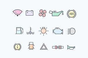 15 Car Dashboard Icons
