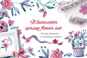 Watercolor spring flower set