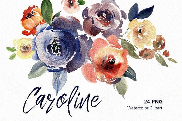 Vintage Watercolor Flowers Leaves