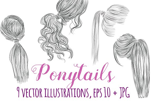 Ponytails vector hairstyles set
