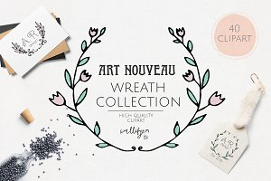 Art Nouveau wreath clipart