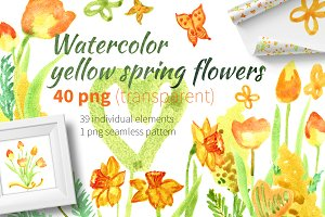 Watercolor yellow spring flowers