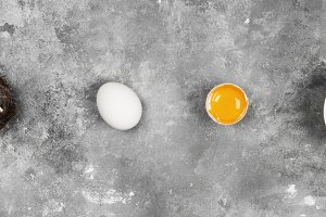 Eggs on gray background