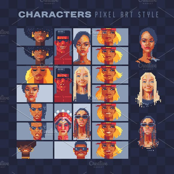 Characters Pixel Art Set