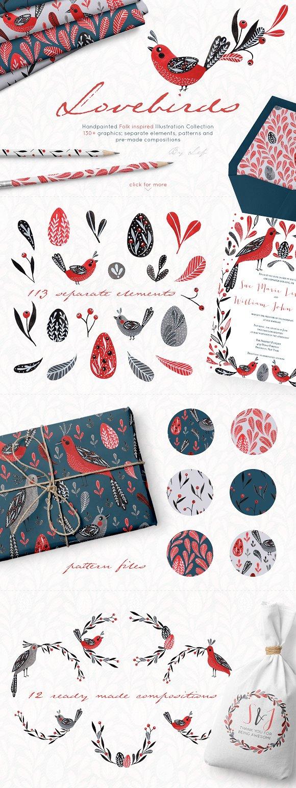 Lovebirds Handpainted Folk Graphics