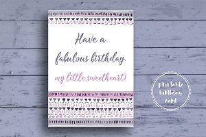 Purple Girlish Birthday Card