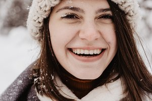 Happy Young Girl in Winter Park