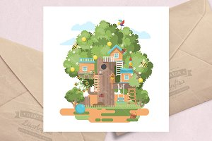 Treehouse colorful flat