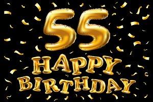 happy birthday 55 balloons gold