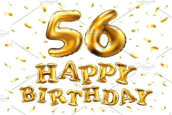 Happy Birthday 56 Balloon Gold