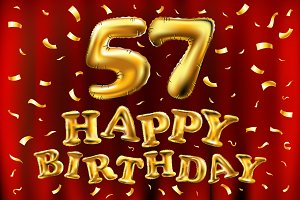 happy birthday 57th balloons gold