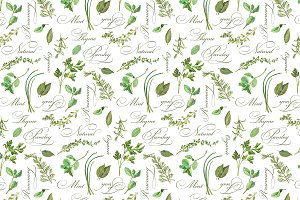 Herbs Drawing Seamless Pattern