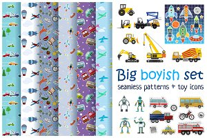 Big boyish set of patterns and toys