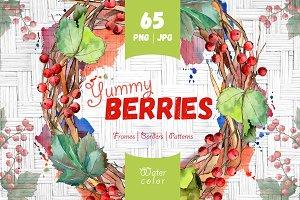 Yummy berries JPG watercolor set