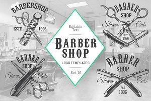 Barbershop logos set