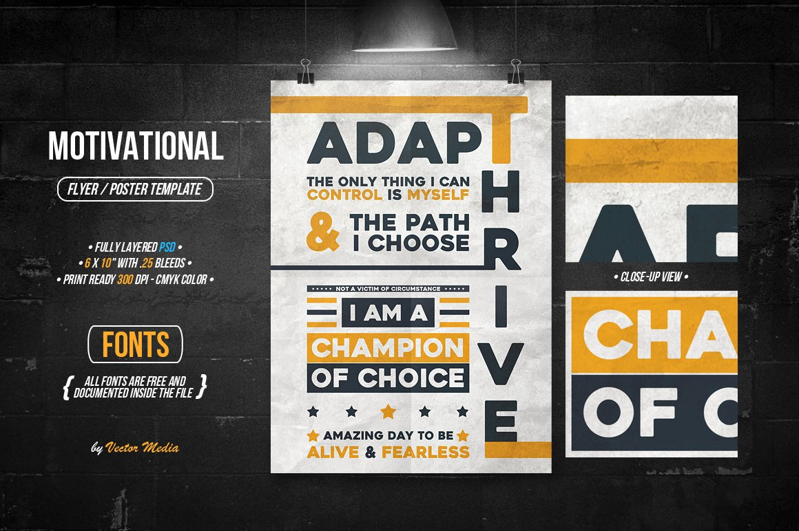 Motivational Flyerposter Flyer Templates Creative Market