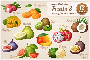 Set of cartoon food icons: Fruits-3
