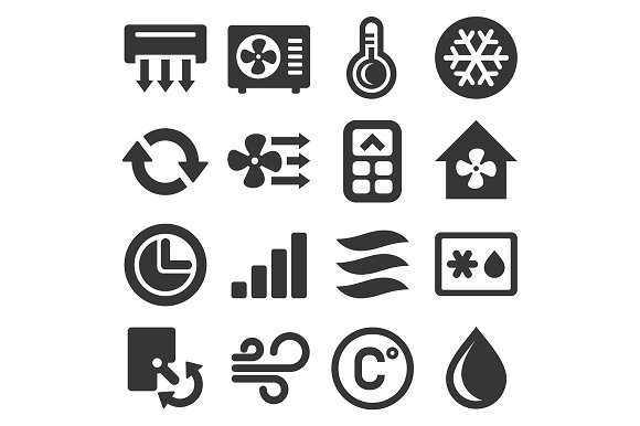 Air Conditioner Icons Set